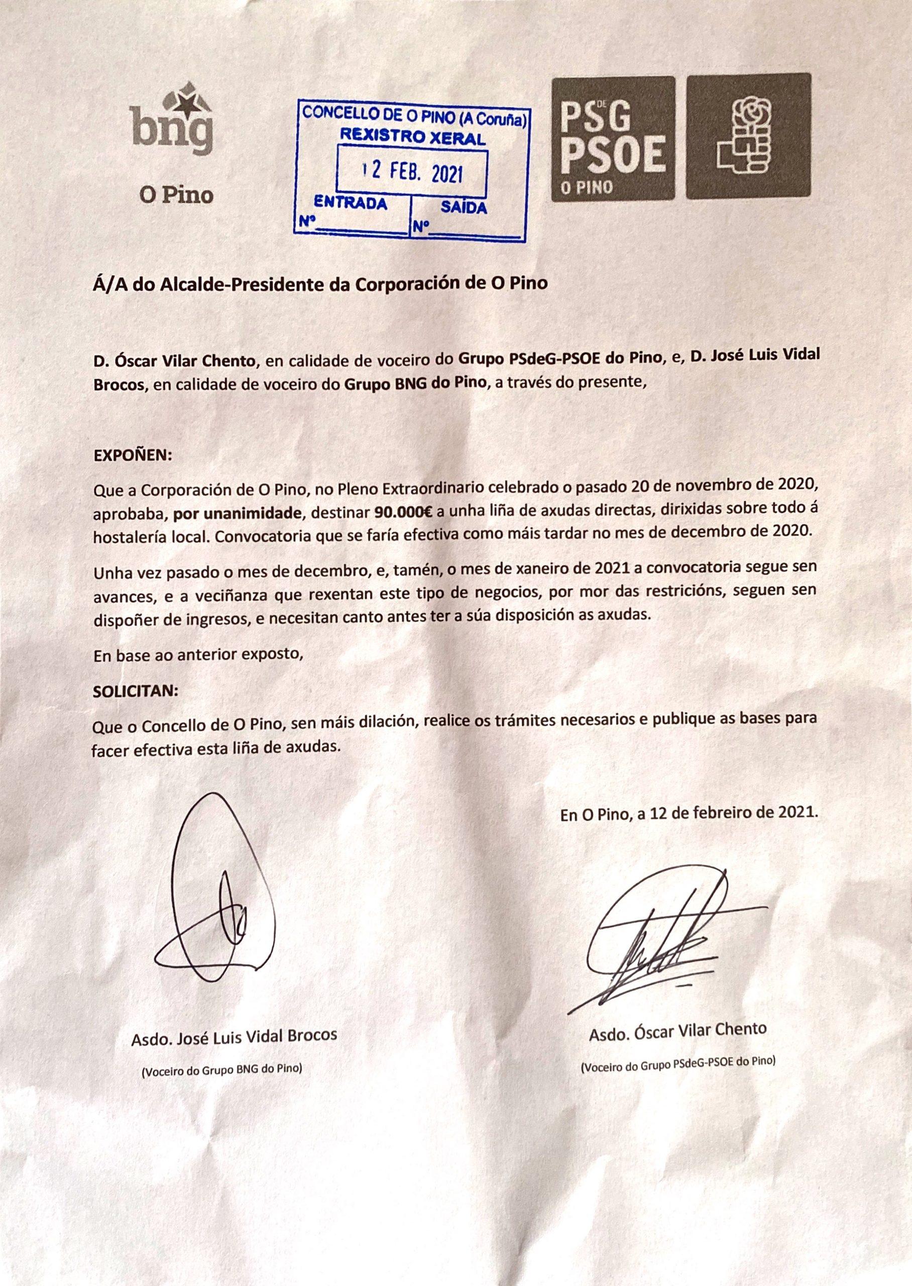 Escaneado escrito PSdeG e BNG do Pino